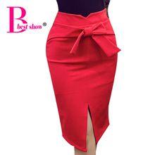 Симпатичные Лук Женщины юбка-карандаш 4XL 5XL Плюс размер юбки 2017 Весна Женщины нового способа вскользь высокой талией длиной до колен юбка с Open(China (Mainland))