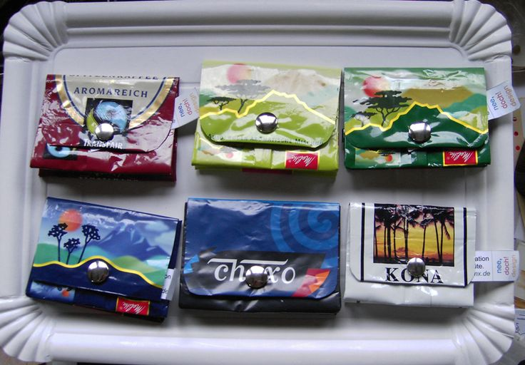 purses or wallets made from coffee packages.  Nice idea good reuse.