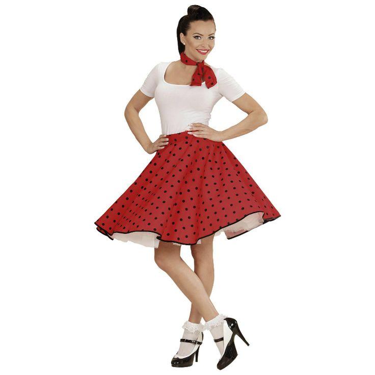 Disfraz de Falda Años 60 Roja #disfraces #carnaval