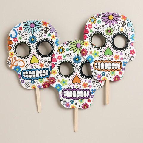 Day of the Dead Skull Masks, Set of 3