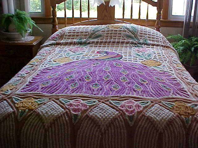 vintage purple peacock chenille bedspread from size - Chenille Bedspreads