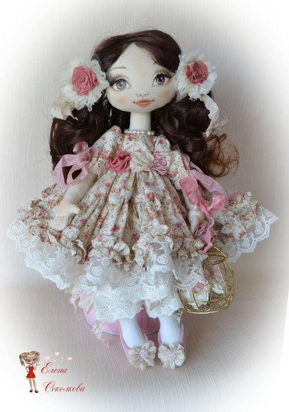 Roseanne. Doll made of cloth. Roses. Beauty. Textile от ElenaDolls