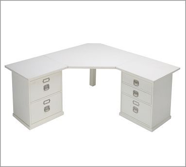 White corner desk with extra storage for office                                                                                                                                                                                 More