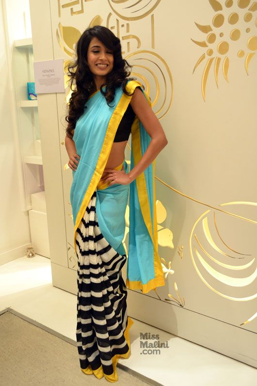 Sarah Jane Dias in a blue Ikat Masaba saree