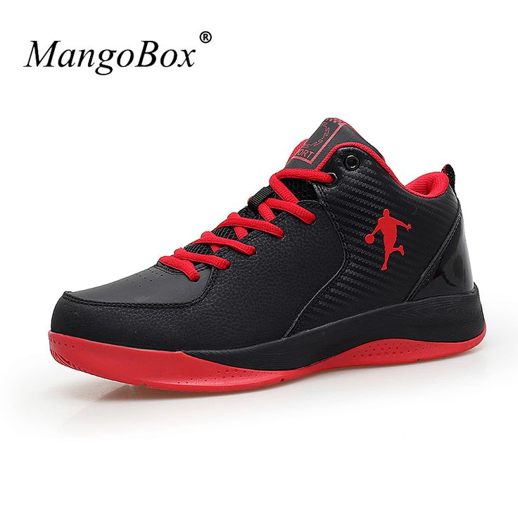 2016 Mens Basketball Sneakers Leather Sport Shoes Black/Red Outdoor Court Shoes Training Men Athletic Basketball Shoes