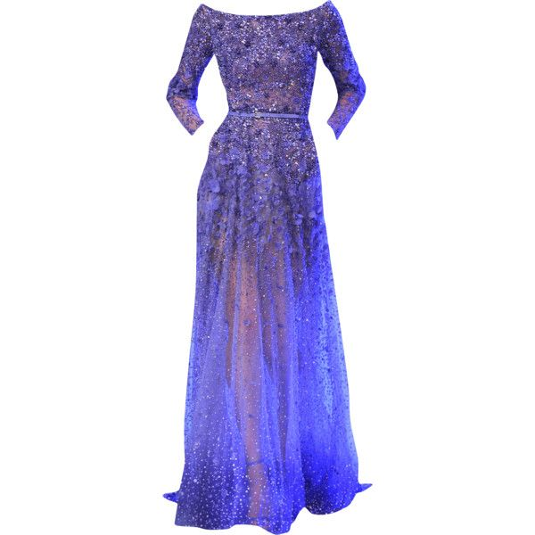 Elie Saab - edited by mlleemilee ❤ liked on Polyvore featuring dresses, gowns, long dresses, vestidos, 13. dresses., purple evening gowns, purple ball gowns, elie saab gowns and elie saab evening dresses