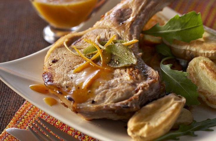Côte de porc grillée à la sauce à l'orange