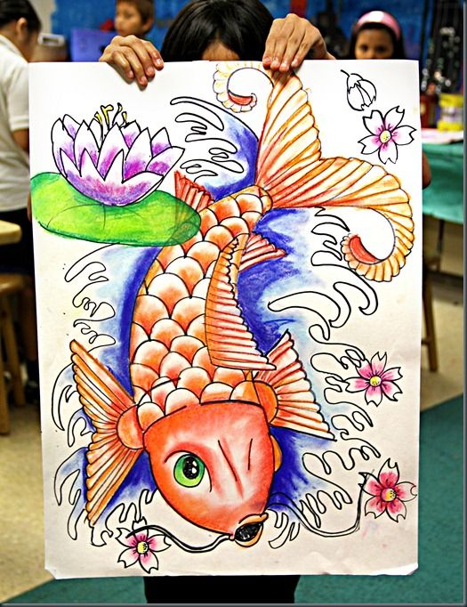 Awesome Koi project...Outline the drawing with marker and then outline all the areas with markers...then, paint the edge of the markers with water and it will create the effect of value and watercolors!