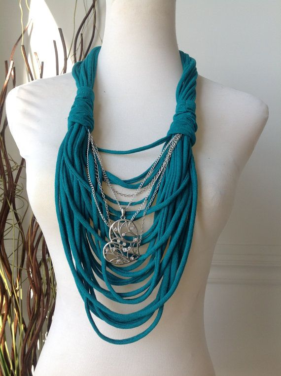 Scarf Necklace Jade with Silver Heart & Chaines by MySassyScarfs, $22.00