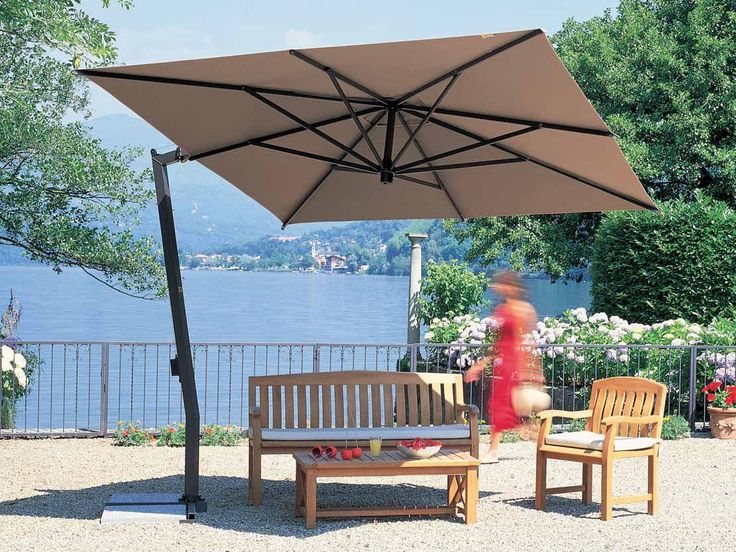 this square umbrella provides more than 130 square feet of shade for a large patio