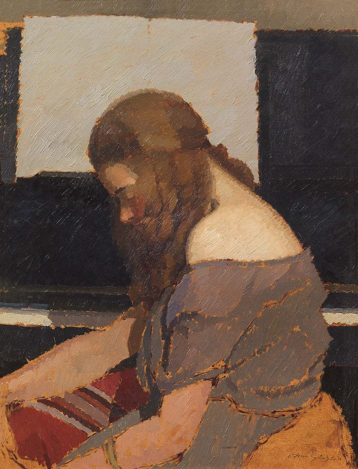 Oscar Ghiglia (1876-1945), Girl at the Piano, ca. 1922; Oil on cardboard, 62,5x48