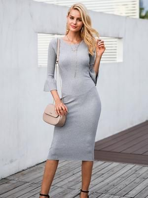 Butterfly Sleeve Knitted Slim Dress  $34.23