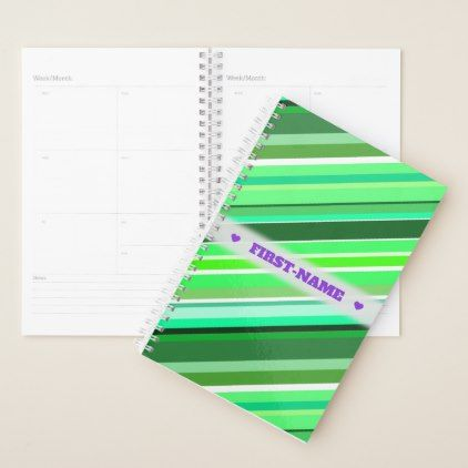 #Custom Name  Various Shades of Green Stripes Planner - #office #gifts #giftideas #business