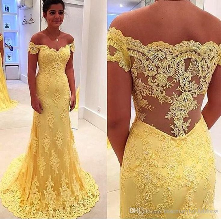 Real Sample Yellow Lace Mermaid Evening Dress Vestidos 2016 Hot Sale Off Shoulder Lace Applique Prom Dress Elegant Party Dress Best Prom Dress Childrens Prom Dresses From Rosemarybridaldress, $136.13| Dhgate.Com