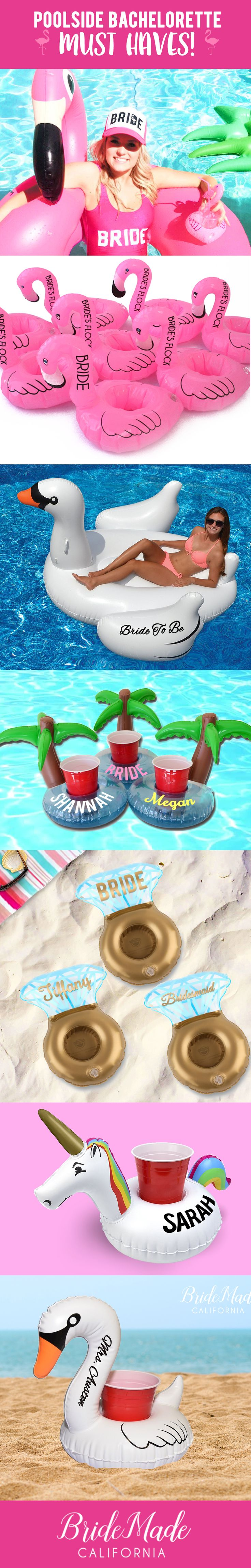 Customizable pool floats for every bachelorette party theme! Will you and your girls be hanging poolside? Wow them and avoid a drink mix up with these beverage boats! We've got plenty to choose from - flamingos, swans, palm trees, unicorns, engagement rings and even giant swans ready for personalization! Perfect for bachelorette party favors, bridesmaid proposal and bridal party gifts! Bachelorette party theme, flamingo bachelorette, cabo bachelorette, vegas bachelorette, beach bachelorette…