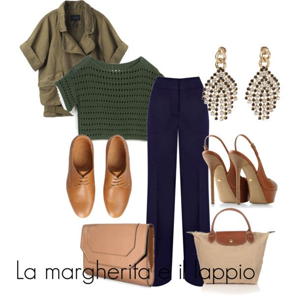 Blue trousers - military green and beige/cognac accessories