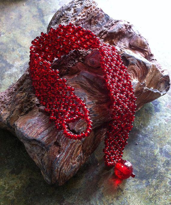 Red Beaded Bracelet by bonmokishop on Etsy
