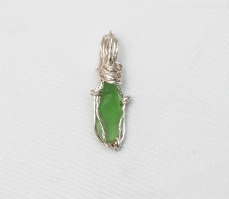 Jade Green Beach Glass Pendant #30 - 29mm tall 9mm wide Green Sea Glass Pendant  - Shipping is on Us at Everything Vintage by EverythingVintageBC on Etsy
