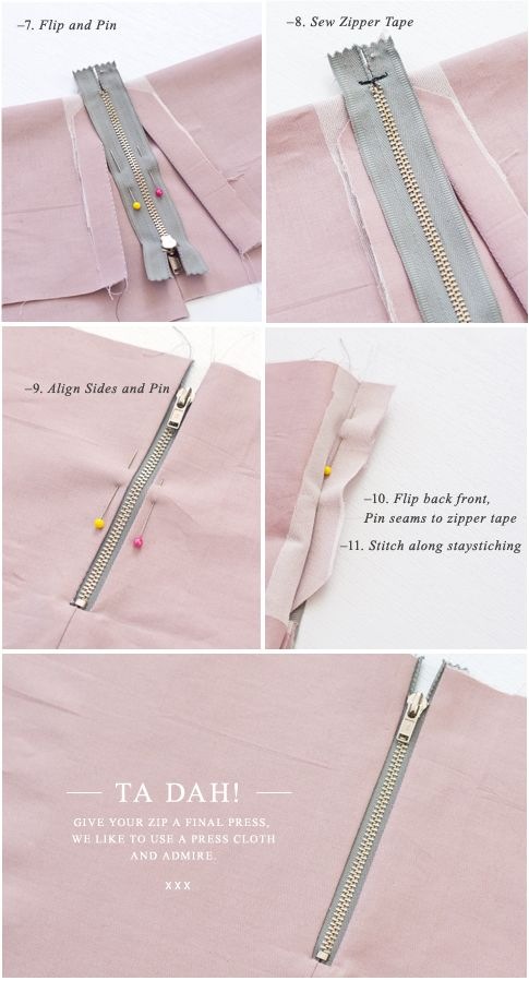 Pattern Runway - Sewing Patterns for the modern seamstress.: {How to:} Sew an Exposed Zipper (with a seam).  Boy, sewing techniques sure have changed since I started sewing in 8th grade!  Now we want the zippers to show on the outside! LOL!