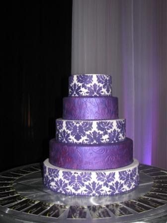 Purple Damask Wedding Cake | purple-damask-wedding-cake.jpg