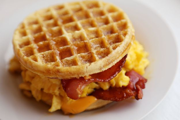 Make This Bacon, Egg, And Cheese Eggo Waffle Sandwich Right Now. I would definitely choose cheddar over American cheese but this otherwise sounds delicious!