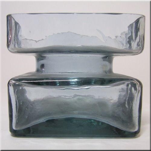 Riihimäen Lasi Oy / Riihimaki smokey blue glass textured 'Pala' vase by Helena Tynell.