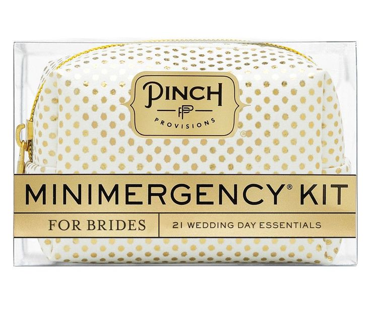 "Say ""I Do"" to disaster relief with the Minimergency® Kit for Brides by Pinch Provisions®. This kit is chock-full of 21 little essentials to save the big day, in"