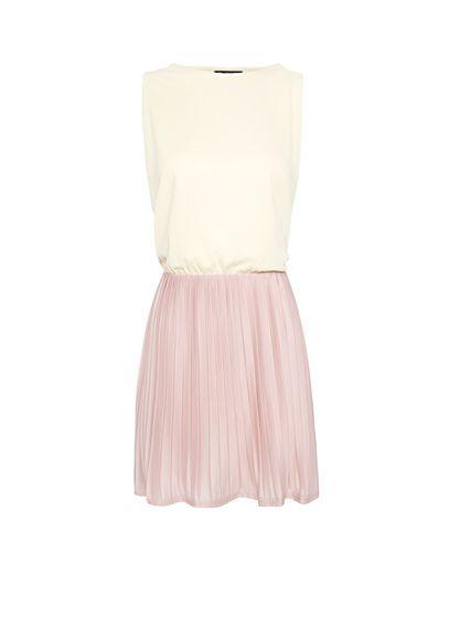 MANGO - CLOTHING - Two-tone pleated dress