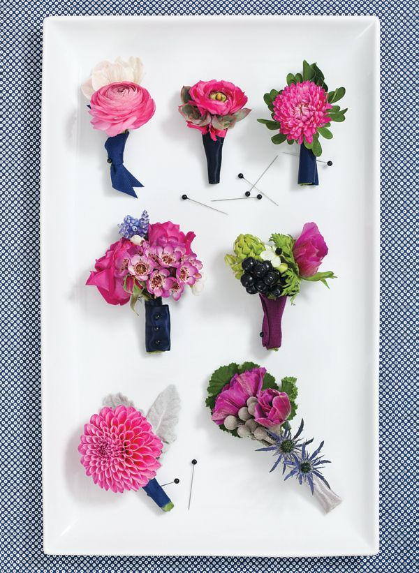 navy and hot pink wedding theme ideas. I like how They are all different.