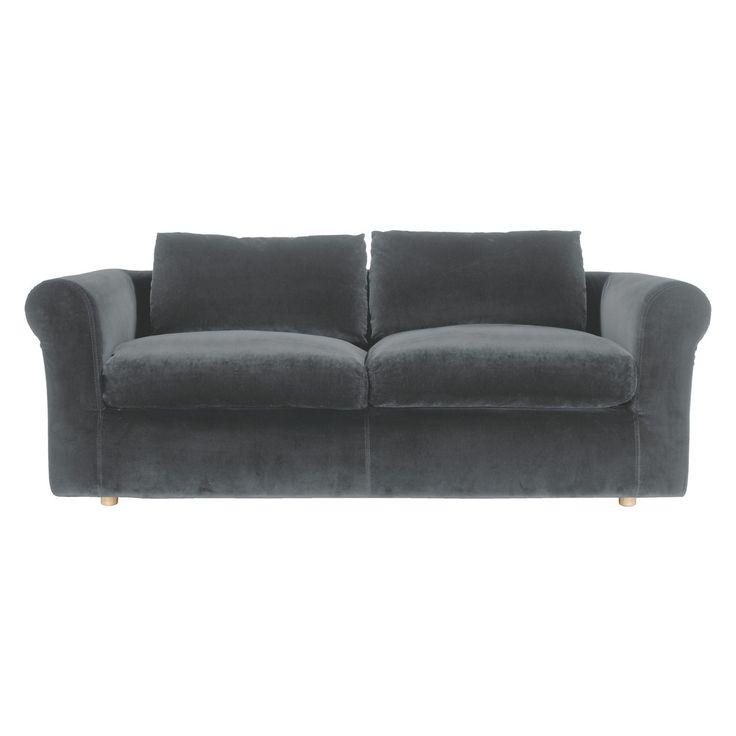 LOUIS Dark grey velvet 3 seater sofa bed