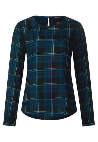 #STREET ONE  Karierte Shirt Style Bluse, Gr. , blau,schwarz, 04057515718698