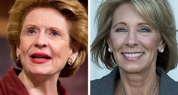 Betsy DeVos met with Sen. Debbie Stabenow, who says she can't support the education secretary nominee.