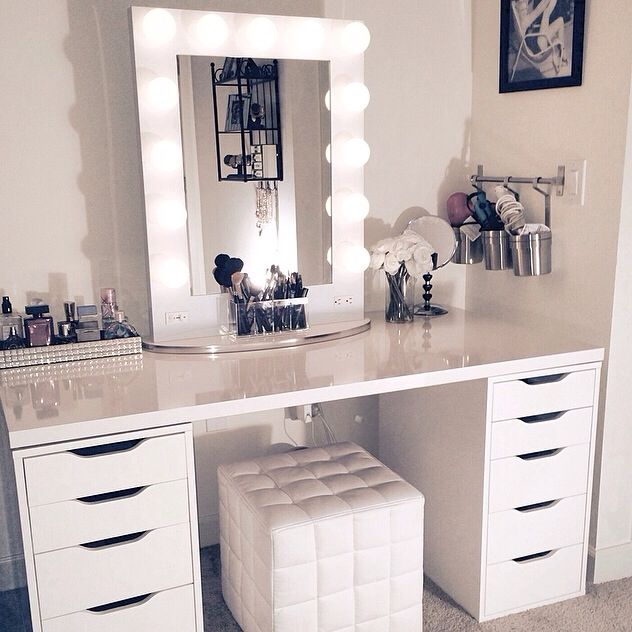 Makeup Vanity ❤️ This is so beautiful love the white tufted cube White Broadway Table Top Mirror turns Ikea desk and drawers into your private sanctuary $399 www.VanityGirlHollywood.com: