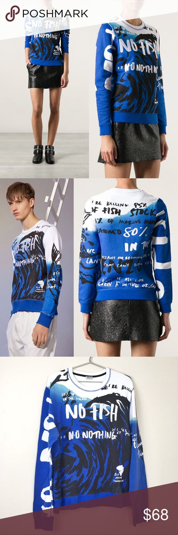 """KENZO Paris No Fish No Nothing Sweatshirt *FLAWS* ▪️Midweight 100% Cotton  ▪️Embroidery, fish appliqué & allover screenprint ▪️Banded at all openings   + Details +  ▪️Size: Size tag removed - approximate Women's XL / Men's M/L ▪️Material: 100% Cotton ▪️Condition: Good condition! Moderate general wear & light fading. Signs of wear, fading & color bleeding at armpits. Light yellowing around neck. Light wear to embroidery & fish detail at bottom left.  + Measurements +  Bust: 43"""" Bottom hem…"""