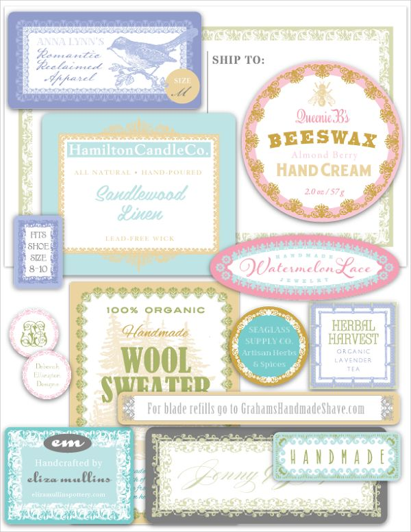 FREE PRINTABLE LABELS::  Huge branding kit of 14 different sizes, 6 different colors. Perfect for small business start ups, crafters, soap and candle makers. Enjoy :)
