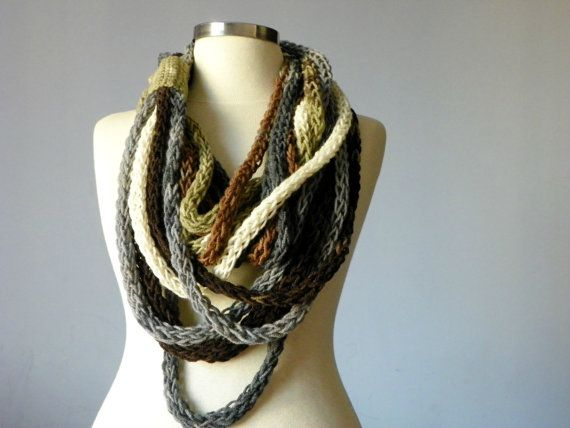 Knitted infinity chain scarf necklace colorfull by yarnisland, $35.00