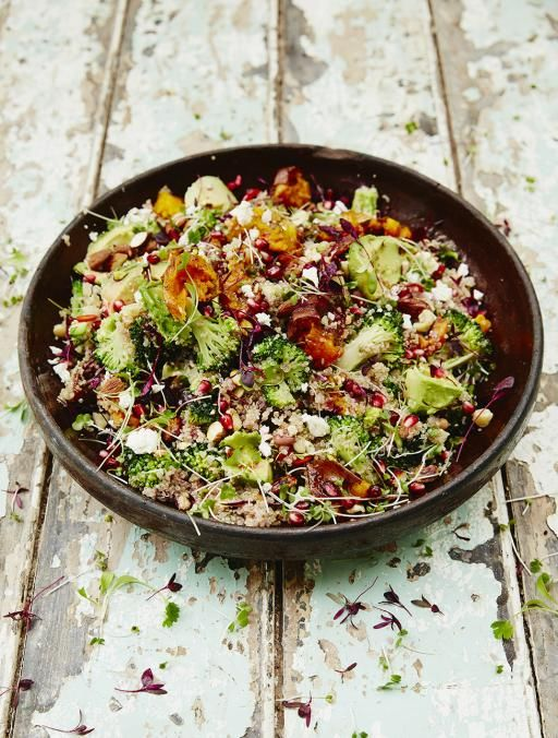Superfood salad | Jamie Oliver | Food | Jamie Oliver (UK)    (Sweet potato, broccoli, quinoa, feta...)