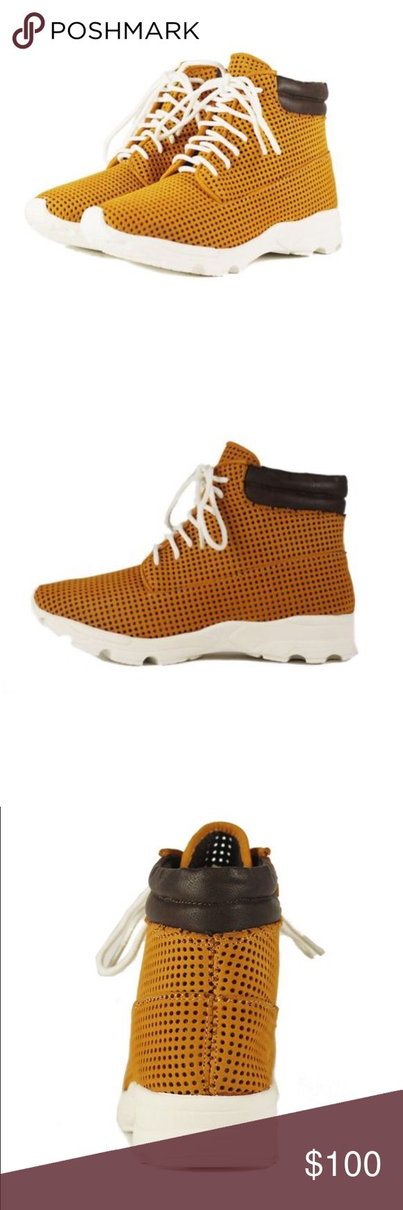 Jeffrey Campbell Tiveron tans and white shoes. Never worn. Punched nubuck shoes. They are very soft and comfortable. I have long toes so it fits exact. I like my shoes to have room. Jeffrey Campbell Shoes Sneakers