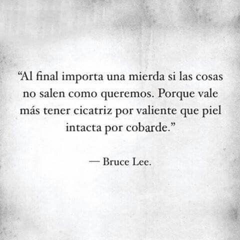 """Cicatrices """"Al final no importa una mierda si las cosas no salen como queremos. Por que vale más tener cicatriz por valiente que piel intacta por cobarde"""" -Bruce Lee. Sobre todo por que, a veces a sido mejor que no salgan."""