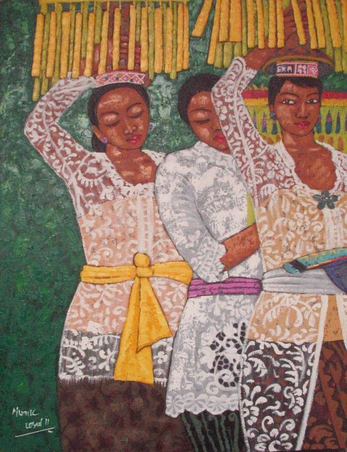 This is a part of our series honoring women everywhere. This painting depicts three Balinese girls who are bearing fruit to bring to a local temple. Artist: Manik Sumaretria, Indonesia