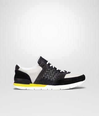 Nerobianco Medium Grey Intrecciato Calf Tessuto Rete Sneaker