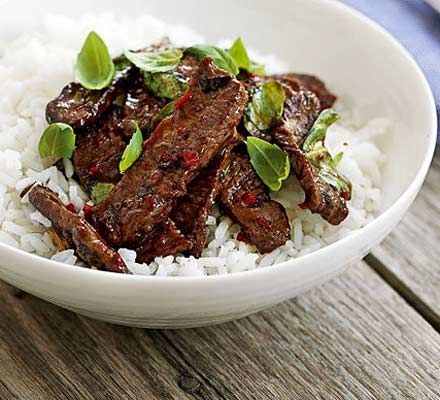 Thai beef stir-fry. A no fuss shopping list and super-quick to prepare, the perfect after work meal