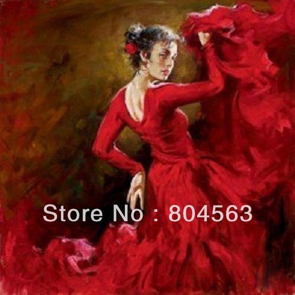 Vrouwen met de hand gemaakt olieverfschilderij op canvas- spaanse danseres r3468