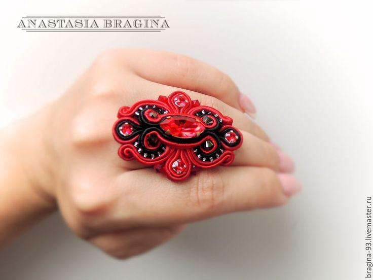 """Купить Кольцо сутажное """"поцелуй богини"""" - бордовый, кольцо, кольцо ручной работы, кольцо с кристаллом"""