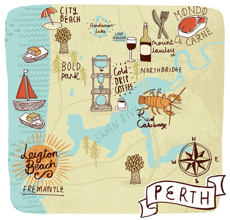 Map of Perth for Jamie Magazine - kate sutton illustration