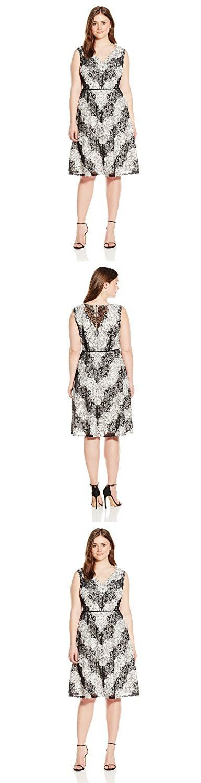 Adrianna Papell Women's Plus Size Chevron Lace Striped Dress, Black/Ivory, 18W