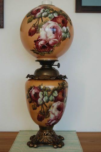Antique Old Vintage GWTW Oil Kerosene Parlor Banquet Glass Victorian Roses  Lamp   EBay