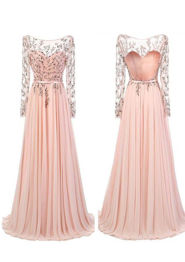 A-line Long Sleeves Prom Dresses,Floor Length Pink Chiffon Prom Dress,beading prom dress,pink evening dresses,charming evening dress