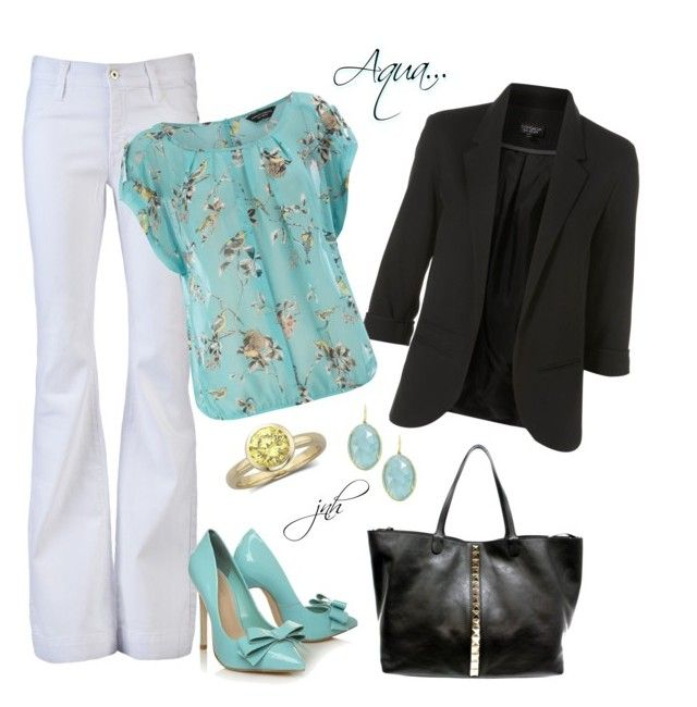 """""""Aqua Dorothy Perkins Top"""" by jillnmitchell ❤ liked on Polyvore featuring James Jeans, Carvela Kurt Geiger, Topshop, Dorothy Perkins, Valentino, Irene Neuwirth, top handle bags, cocktail rings, floral print and studded handbags"""