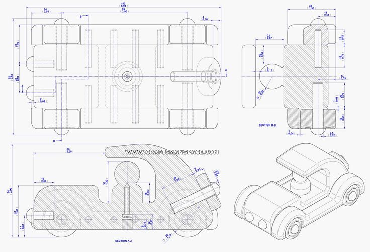 Old Timer Car Toy Plan Assembly 2d Drawing Barn Handgjort